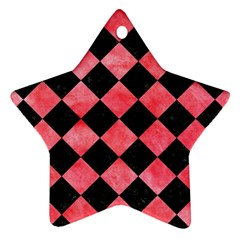 Square2 Black Marble & Red Watercolor Star Ornament (two Sides) by trendistuff