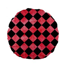 Square2 Black Marble & Red Watercolor Standard 15  Premium Flano Round Cushions by trendistuff