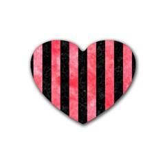 Stripes1 Black Marble & Red Watercolor Rubber Coaster (heart)  by trendistuff