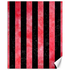 Stripes1 Black Marble & Red Watercolor Canvas 11  X 14   by trendistuff