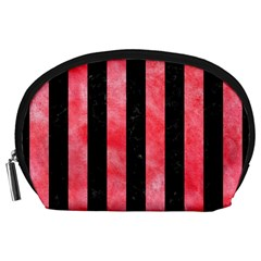 Stripes1 Black Marble & Red Watercolor Accessory Pouches (large)  by trendistuff