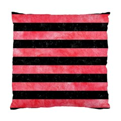 Stripes2 Black Marble & Red Watercolor Standard Cushion Case (two Sides) by trendistuff