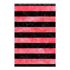 Stripes2 Black Marble & Red Watercolor Shower Curtain 48  X 72  (small)  by trendistuff