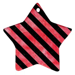 Stripes3 Black Marble & Red Watercolor Ornament (star) by trendistuff