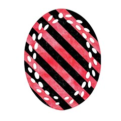 Stripes3 Black Marble & Red Watercolor Ornament (oval Filigree) by trendistuff