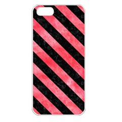 Stripes3 Black Marble & Red Watercolor Apple Iphone 5 Seamless Case (white) by trendistuff