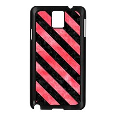 Stripes3 Black Marble & Red Watercolor Samsung Galaxy Note 3 N9005 Case (black) by trendistuff