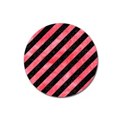 Stripes3 Black Marble & Red Watercolor (r) Magnet 3  (round) by trendistuff