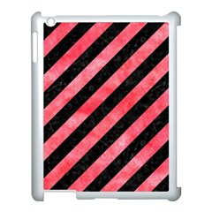 Stripes3 Black Marble & Red Watercolor (r) Apple Ipad 3/4 Case (white) by trendistuff