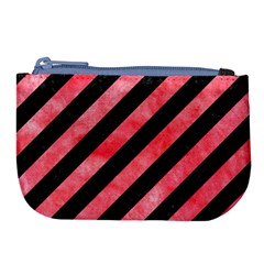 Stripes3 Black Marble & Red Watercolor (r) Large Coin Purse
