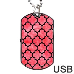 Tile1 Black Marble & Red Watercolor Dog Tag Usb Flash (two Sides) by trendistuff