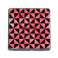 Triangle1 Black Marble & Red Watercolor Memory Card Reader (square)