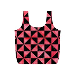 Triangle1 Black Marble & Red Watercolor Full Print Recycle Bags (s)  by trendistuff