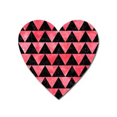 Triangle2 Black Marble & Red Watercolor Heart Magnet by trendistuff