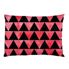 Triangle2 Black Marble & Red Watercolor Pillow Case (two Sides) by trendistuff