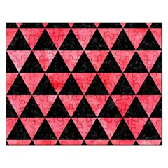 Triangle3 Black Marble & Red Watercolor Rectangular Jigsaw Puzzl by trendistuff