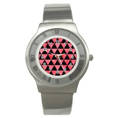 Triangle3 Black Marble & Red Watercolor Stainless Steel Watch by trendistuff