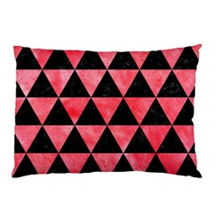 Triangle3 Black Marble & Red Watercolor Pillow Case (two Sides) by trendistuff