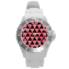 Triangle3 Black Marble & Red Watercolor Round Plastic Sport Watch (l) by trendistuff