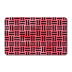 Woven1 Black Marble & Red Watercolor Magnet (rectangular) by trendistuff