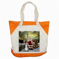 Sanata Claus With Snowman And Christmas Tree Accent Tote Bag by FantasyWorld7