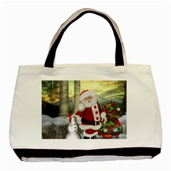 Sanata Claus With Snowman And Christmas Tree Basic Tote Bag (two Sides) by FantasyWorld7