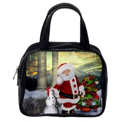 Sanata Claus With Snowman And Christmas Tree Classic Handbags (one Side) by FantasyWorld7