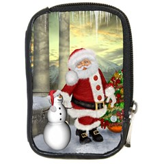 Sanata Claus With Snowman And Christmas Tree Compact Camera Cases by FantasyWorld7