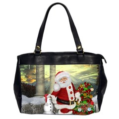 Sanata Claus With Snowman And Christmas Tree Office Handbags (2 Sides)  by FantasyWorld7