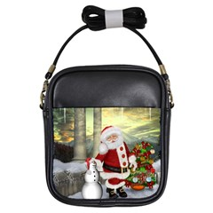 Sanata Claus With Snowman And Christmas Tree Girls Sling Bags by FantasyWorld7