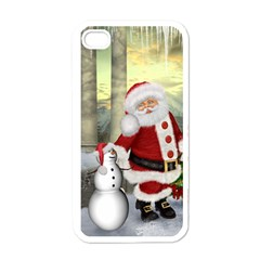 Sanata Claus With Snowman And Christmas Tree Apple Iphone 4 Case (white) by FantasyWorld7