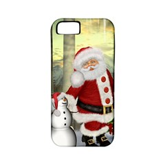Sanata Claus With Snowman And Christmas Tree Apple Iphone 5 Classic Hardshell Case (pc+silicone) by FantasyWorld7