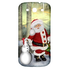 Sanata Claus With Snowman And Christmas Tree Samsung Galaxy S3 S Iii Classic Hardshell Back Case by FantasyWorld7