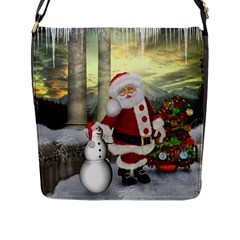 Sanata Claus With Snowman And Christmas Tree Flap Messenger Bag (l)  by FantasyWorld7