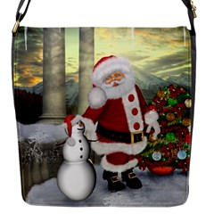 Sanata Claus With Snowman And Christmas Tree Flap Messenger Bag (s) by FantasyWorld7