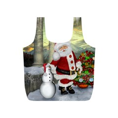 Sanata Claus With Snowman And Christmas Tree Full Print Recycle Bags (s)  by FantasyWorld7