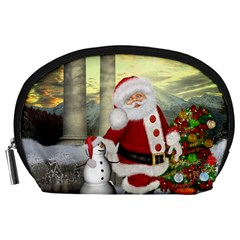 Sanata Claus With Snowman And Christmas Tree Accessory Pouches (large)  by FantasyWorld7