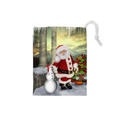 Sanata Claus With Snowman And Christmas Tree Drawstring Pouches (small)  by FantasyWorld7