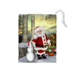 Sanata Claus With Snowman And Christmas Tree Drawstring Pouches (medium)  by FantasyWorld7