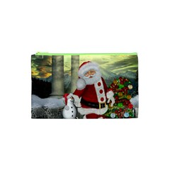 Sanata Claus With Snowman And Christmas Tree Cosmetic Bag (xs)