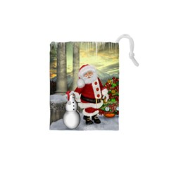 Sanata Claus With Snowman And Christmas Tree Drawstring Pouches (xs)  by FantasyWorld7