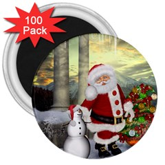 Sanata Claus With Snowman And Christmas Tree 3  Magnets (100 Pack) by FantasyWorld7