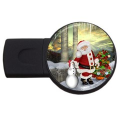 Sanata Claus With Snowman And Christmas Tree Usb Flash Drive Round (4 Gb) by FantasyWorld7
