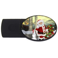 Sanata Claus With Snowman And Christmas Tree Usb Flash Drive Oval (4 Gb) by FantasyWorld7