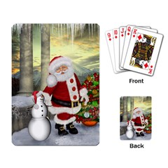 Sanata Claus With Snowman And Christmas Tree Playing Card by FantasyWorld7