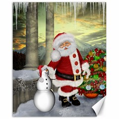 Sanata Claus With Snowman And Christmas Tree Canvas 16  X 20   by FantasyWorld7