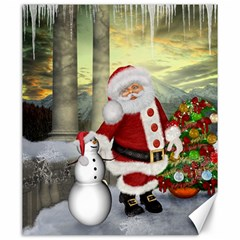 Sanata Claus With Snowman And Christmas Tree Canvas 20  X 24   by FantasyWorld7
