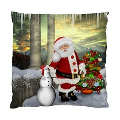 Sanata Claus With Snowman And Christmas Tree Standard Cushion Case (two Sides) by FantasyWorld7