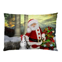 Sanata Claus With Snowman And Christmas Tree Pillow Case by FantasyWorld7