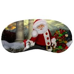Sanata Claus With Snowman And Christmas Tree Sleeping Masks by FantasyWorld7
